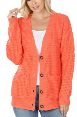 Waffle Knit Cardigan With Pockets 6 Colors