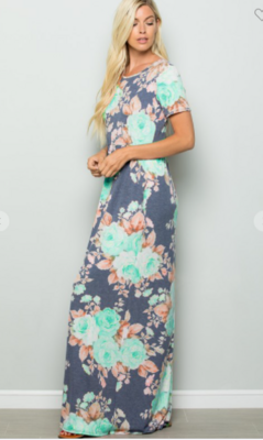 Floral Maxi Dress With Pockets 2 Colors