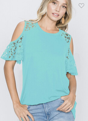 Cold shoulder solid lace sleeve 3 Colors