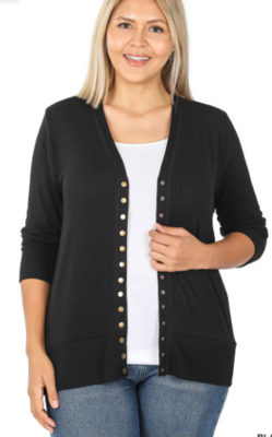 Snap Button Cardigan 3/4 Sleeve 4 Colors - Sizes Sm-3X