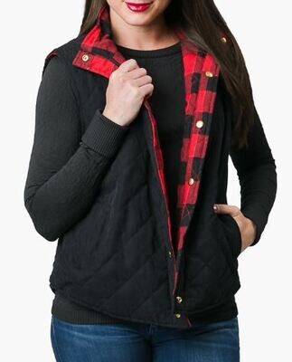 Kenly Black / Buffalo Plaid Reversible Quilted Vest