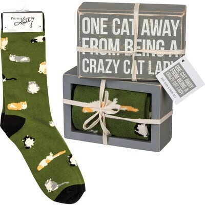One Cat Away From Being A Crazy Cat Lady Box Sign & Socks Set