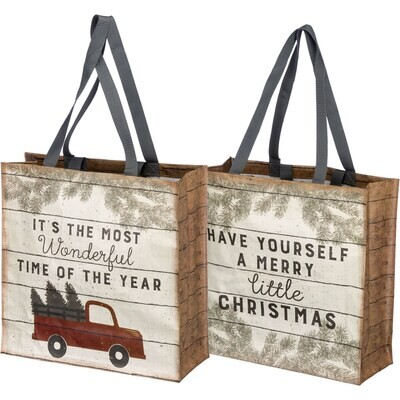 Market Tote - Truck - Merry Little Christmas