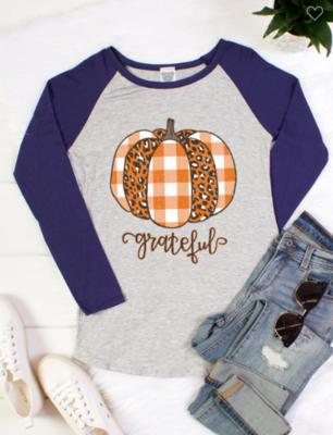 Grateful Plaid and Leopard Pumpkin Long Sleeve Raglan Baseball Tee 2 Colors