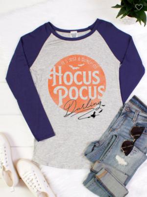Hocus Pocus Long Sleeve Raglan Baseball Tee 3 Colors!