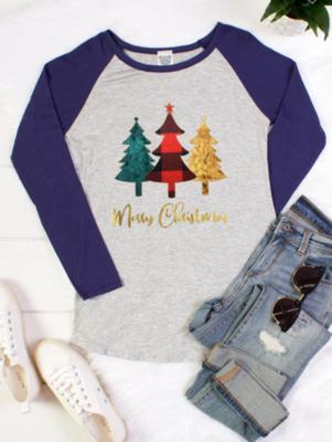 Merry Christmas Long Sleeve Raglan Baseball Tee 2 Styles