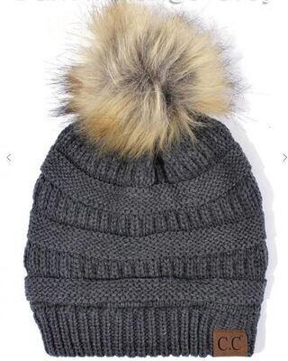 CC HAT - Faux Fur Pom Pom Knit Beanie 4 Colors