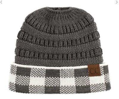 Hat - CC Buffalo Plaid Knit Pony Tail Beanie 3 Colors