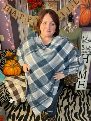 Classic Plaid Poncho by Simply Noelle 2 Colors