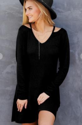 V Neck A-Line Dress With Cut-out Shoulder Detail