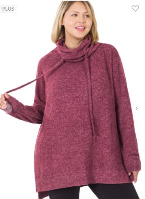 BRUSHED COWL NECK SIDE SLIT SWEATER Plus Sizes 5 Colors