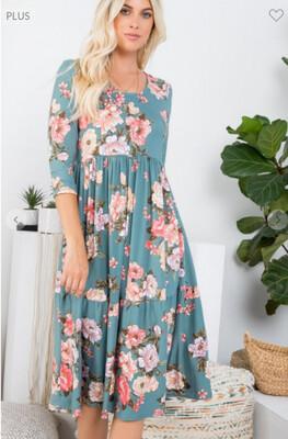 Floral Midi Dress 2 Colors