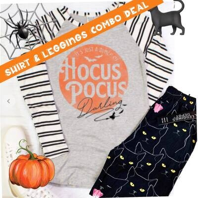 Hocus Pocus Tee & Black Cat Leggings Combo Deal Tee comes 3 Colors and sizes Sm-3X!
