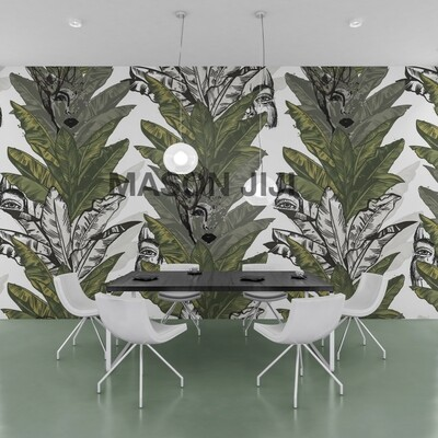 Banana Leaf Print Tropical Wallpaper
