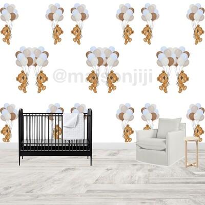 Teddy & balloons Wallpaper Mural