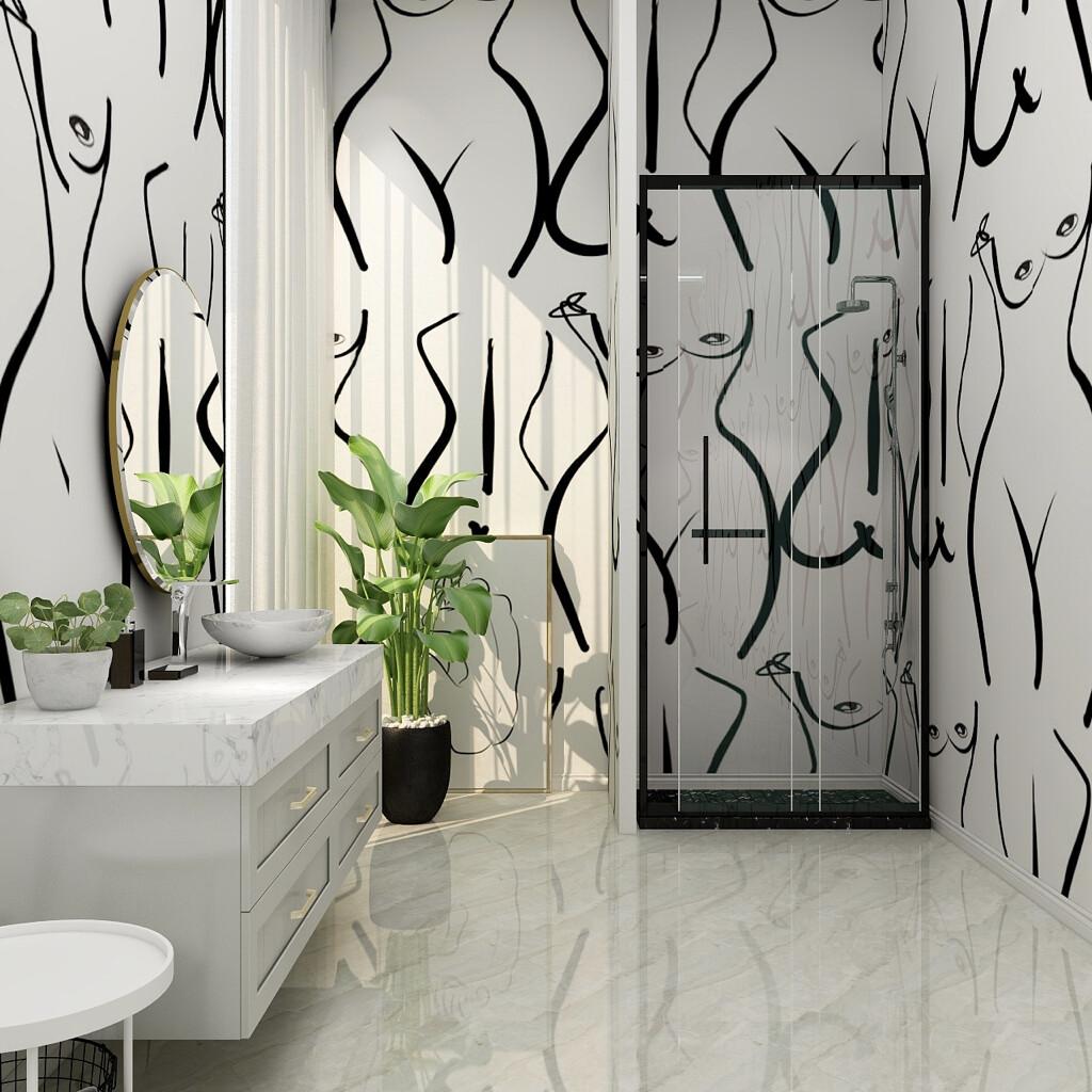 Vintage nude  wallpaper line art