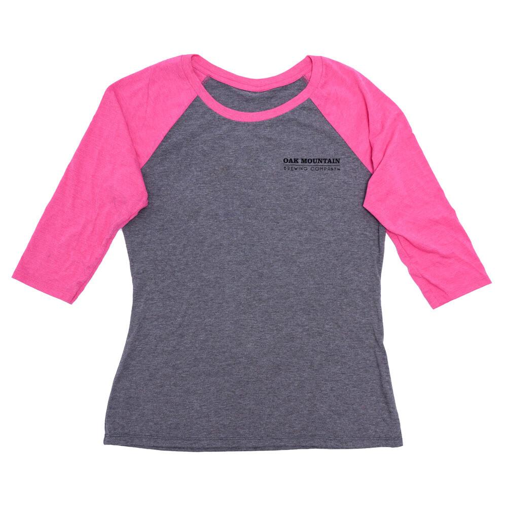 3/4 Sleeve Raglan T-Shirt Ladies Fuchsia / Gray