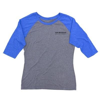 3/4 Sleeve Raglan T-Shirt Ladies Royal Blue / Gray