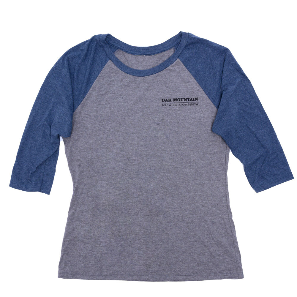 3/4 Sleeve Raglan T-Shirt Ladies Navy Blue / Gray