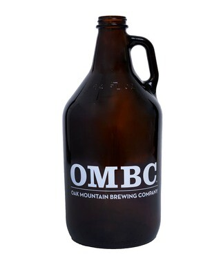 64oz Amber Growler with OMBC logo