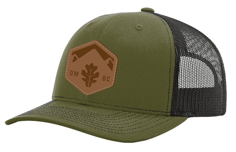 Green / Black Trucker style hat with leather patch