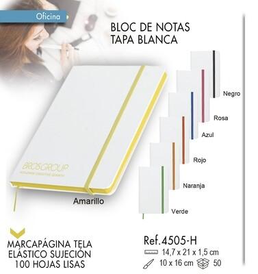 Bloc de notas tapa blanca y elástico de color 14,7 X 21 cm