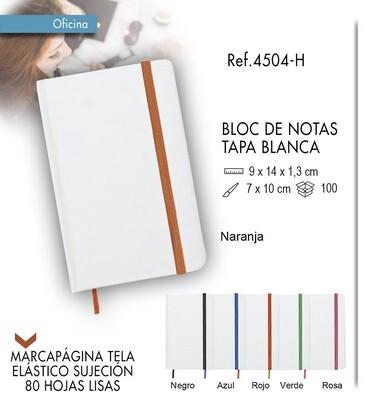 Bloc de notas tapa blanca y elástico de color 9 X 14 cm