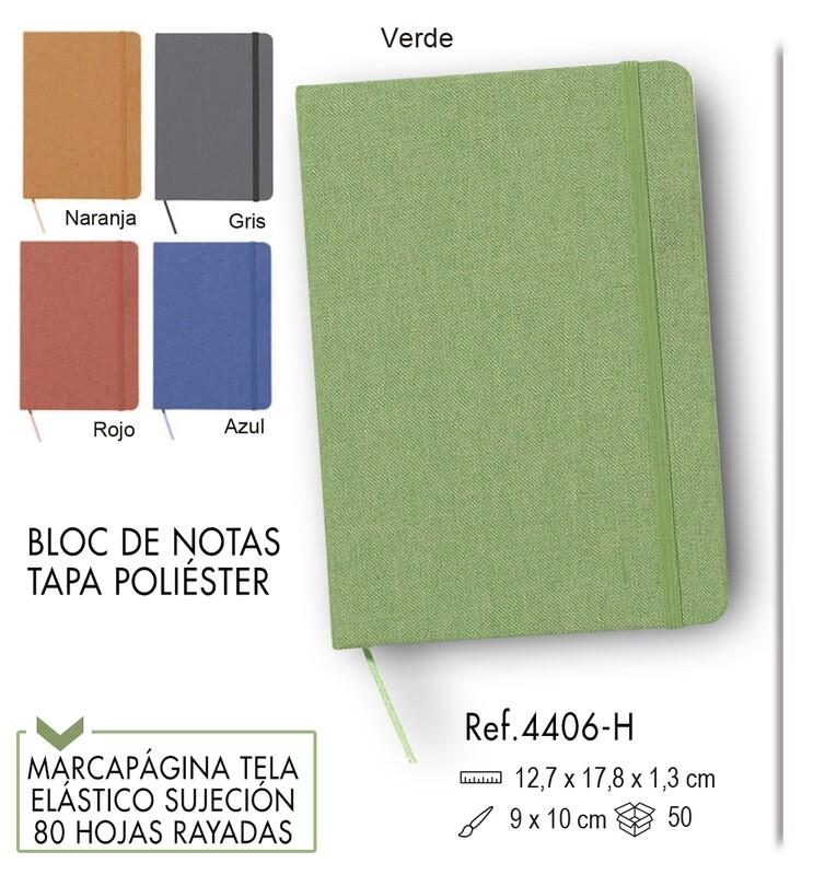 Bloc de notas portada poliéster y elástico de color 12,7 X 17,8 cm