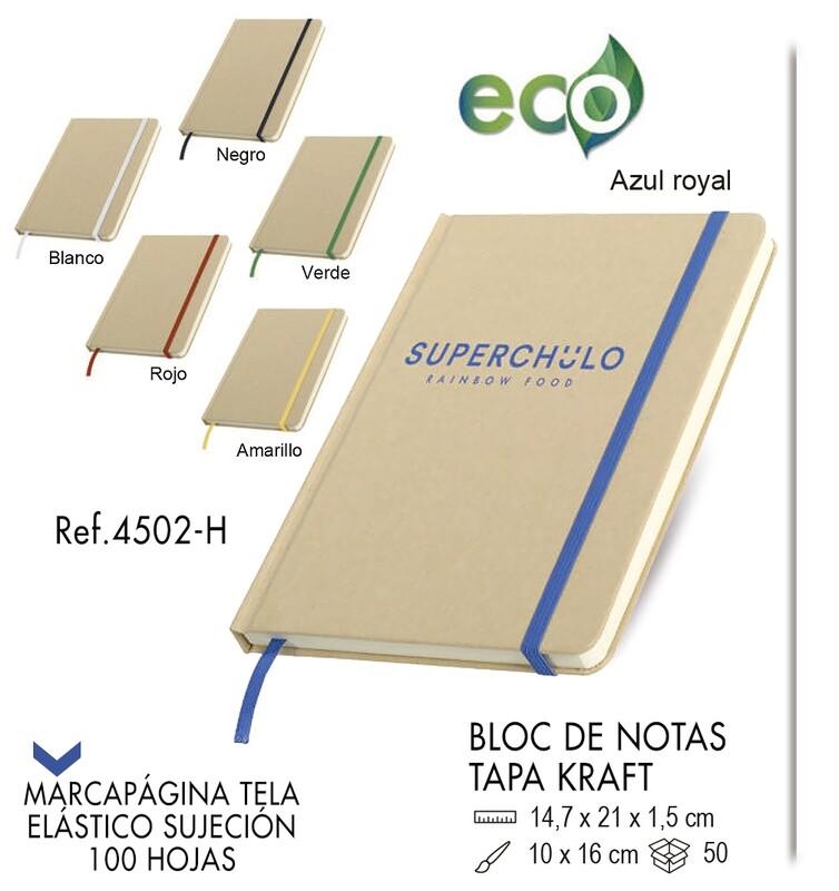 Bloc de notas portada kraft y elástico de color 14,7 X 21 cm
