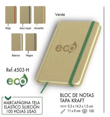 Bloc de notas portada kraft y elástico de color 9,3 X 14,3 cm