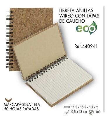 Libreta wireo tapas de caucho natural 11,5 X 15,5 cm