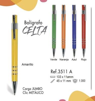 Bolígrafo Celta. Carga Jumbo y clip metálico