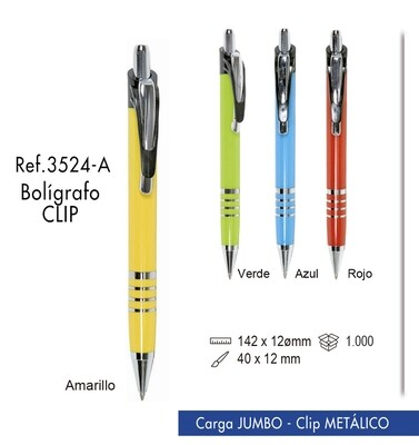 Bolígrafo Clip. Carga Jumbo y clip metálico
