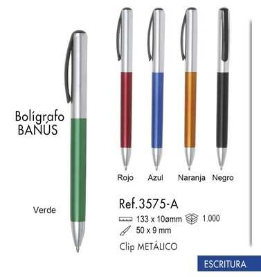Bolígrafo Banús. Clip metálico