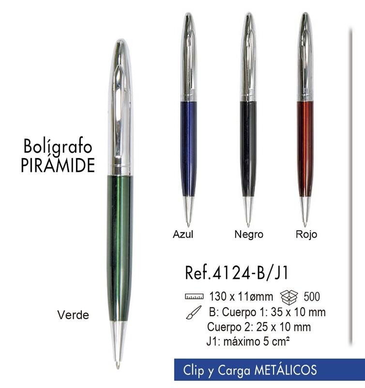 Bolígrafo Pirámide. Clip y carga metálicos