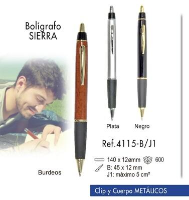 Bolígrafo Sierra. Clip y cuerpo metálico