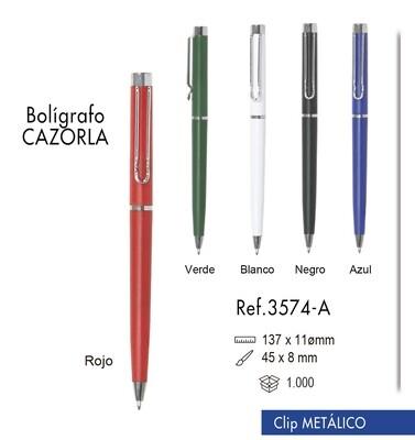 Bolígrafo Cazorla. Clip metálico