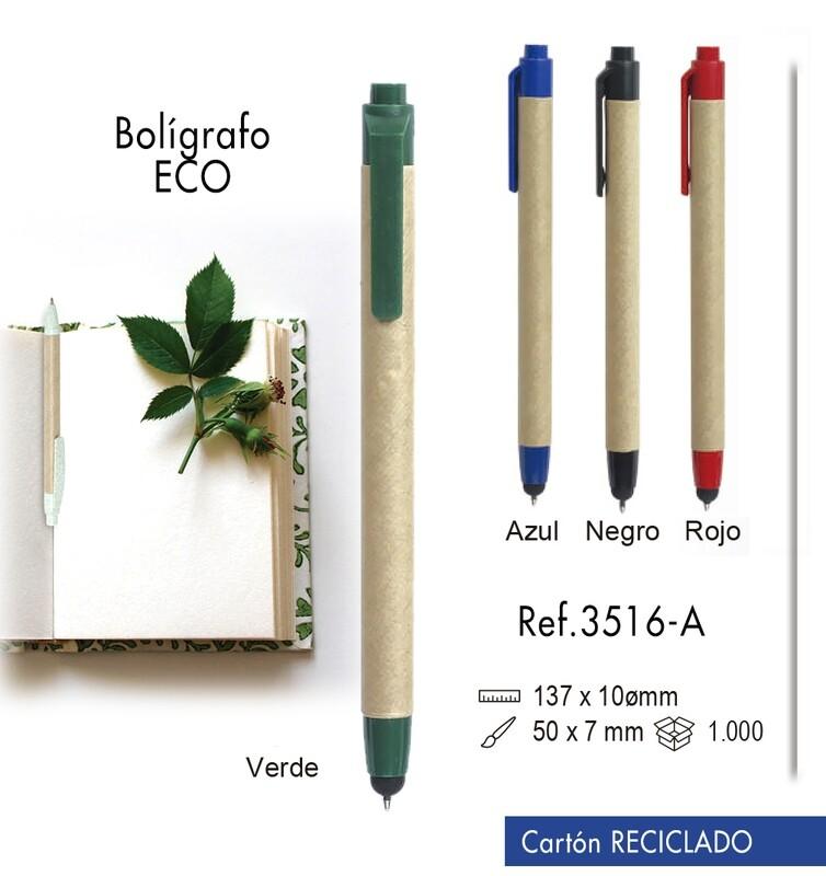 Bolígrafo Eco. Cartón reciclado y plástico