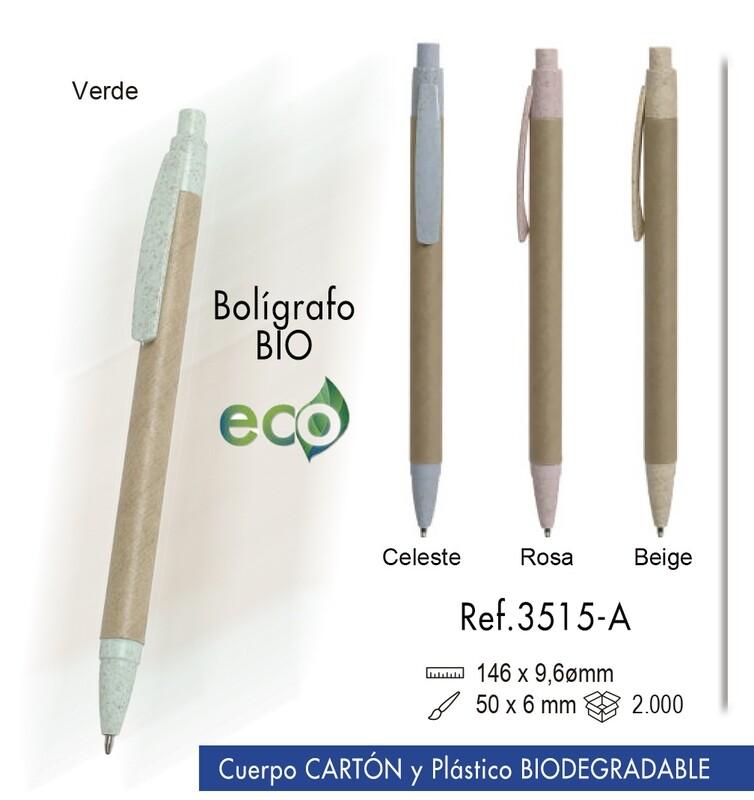 Bolígrafo Bio. Cartón y plástico biodegradable