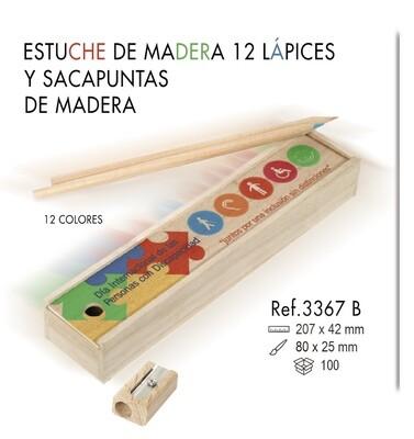 Estuche de madera 12 lápices y sacapuntas