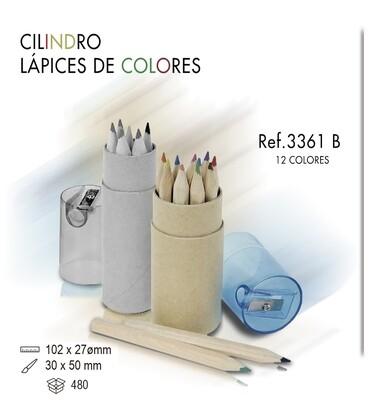 Cilindro 12 lápices de colores. Sacapuntas