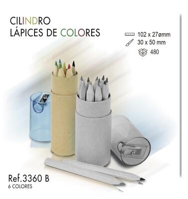 Cilindro 6 lápices de colores. Sacapuntas