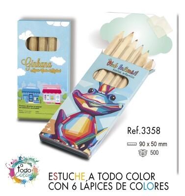 Estuche a todo color 6 lápices de colores