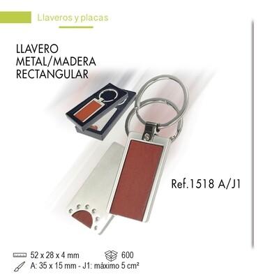 LLavero madera/metal RECT.
