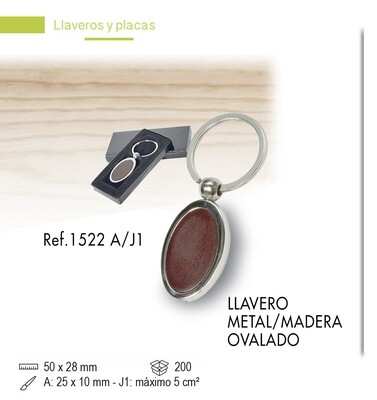 LLavero madera/metal OVAL