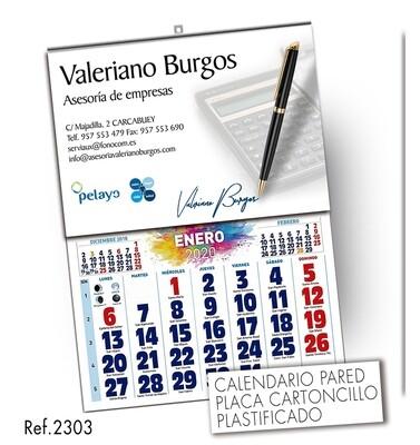 Calendario Placa Personalizada 43.5 X 62.5