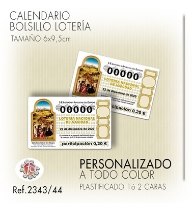 Calendarios BOLSILLO ESPECIAL LOTERÍA