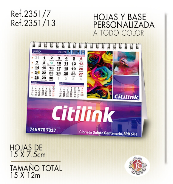 Calendario Personalizado WIRE-O 15X12