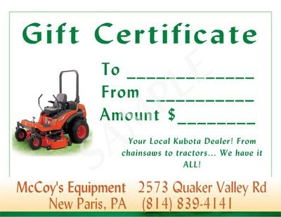 McCoy's Equipment Gift Certificate #2