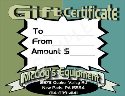 McCoy's Equipment Gift Certificate #3